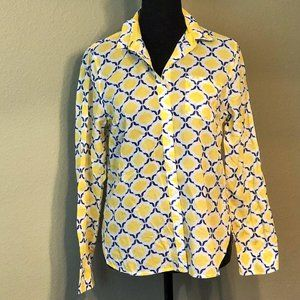 Talbots   Yellow and Royal blue button